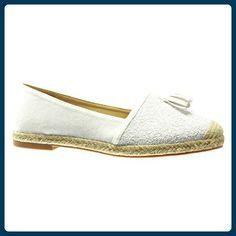 Angkorly - damen Schuhe Espadrilles Mokassin - Slip-On - Franse - Bommel - glitzer Blockabsatz 2 CM - Weiß RS122 T 38 - Espadrilles für frauen (*Partner-Link)