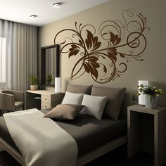 Vinís Florais FL019 Creative Wall Painting, Creative Walls, Ceiling Design, Wall Design, Diy Wall Decor, Bedroom Decor, Home Decor, Wall Drawing, Paint Colors For Living Room