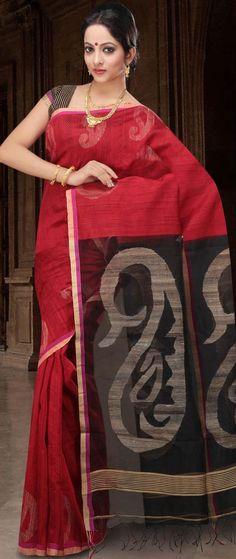 Red Bengal Handloom Ghicha Matka Silk Saree.. awesome!!!
