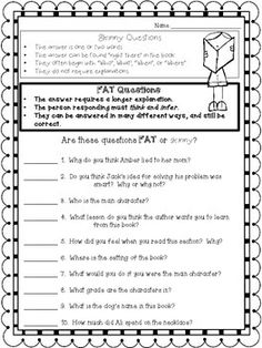 2140 Best Ela Images In 2018 Teaching Reading, Guided Reading Asking Questions Graphic Organizer Crafting Connections Worksheet Wednesday Fat \u0026amp; Skinny Questions Free Worksheet 5th