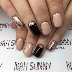 Black Nude and Gold Nail Idea for Prom