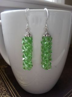 Peridot, Green, Crystal Earrings, Swarovski, Rock Candy, Earrings, Prom, Formal, Night Out, Statement, Simple, Dangle, Bridesmaids, Cube by CrystallureDesigns on Etsy
