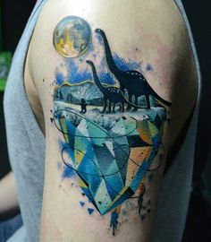 Colored Abstract Dinosaur Tattoo On Left Shoulder