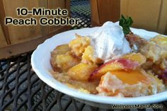 Ten Minute Peach Cobbler- healthy recipe and so good