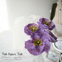 4 lavender Icelandic poppies Crepe paper by TalkPapersTalk Icelandic Poppies, Paper Magic, Crepe Paper Flowers, Flowers For You, Flower Arrangements, Centerpieces, Lavender, Decorative Boxes, Wedding Decorations