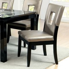 Furniture of America Evantel Keyhole Leatherette Dining Chairs (Set of 2)