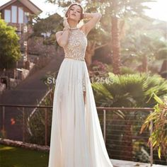 Bridesmaid 2015 New Arrival Sexy White Chiffon Beaded Appliques Lace Prom Dresses Long Halter Side Slit Spring Evening Party Gown