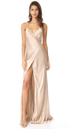 c290f1fe0638e Find and compare Michelle Mason Strappy Wrap Gown across the world's  largest fashion stores! Champagne