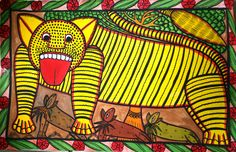 "Bengal Tiger/ Original Art/ Artist: Mantu Chitrakar Size - 14""x 22"" Water based color on Paper  Available at the OUATT market"