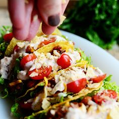 Salad Tacos omit ground beef to make meatless