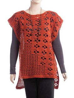 This unique tee is a year-round wardrobe must-have! It's perfect layered over a cami or a long-sleeve shirt. Crocheted using 2 (3, 3, 3, 4) skeins of Premier® Yarns Deborah Norville Alpaca Dance. Inst