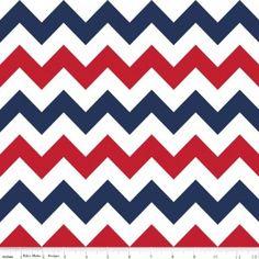 Tissu Medium Chevron bleu blanc rouge x 10cm