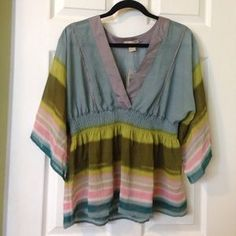I just discovered this while shopping on Poshmark: Boho Striped Kimono Sleeves sexy Top Blouse. Check it out!  Size: L