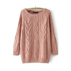Cable Knit Loose Sweater ($21) ❤ liked on Polyvore featuring tops, sweaters, pink, long sleeve sweater, cable-knit sweater, long sleeve pullover, beige sweater and pink cable knit sweater