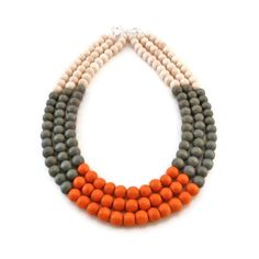 Multi Strand Necklace - Color Block Necklace - Wood Necklace - Multi Colored Necklace - Wooden Jewelry - Statement Necklace ($35) found on Polyvore