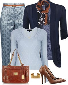 """Blue Printed Pants"" by lmm2nd on Polyvore"