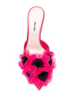 Designer Clothes, Shoes & Bags for Women Pink Kitten Heels, Kitten Heel Shoes, Mules Shoes, Heeled Mules, Shoes Heels, Floral Shoes, Pink Shoes, Leather Mules, Pink Leather
