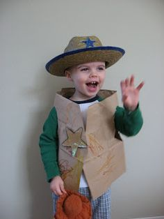 Cowboy vest for toddler made from a paper bag. Great craft project.