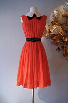 60s Dress // Vintage 1960s Pleated Red Dress with by xtabayvintage, $148.00