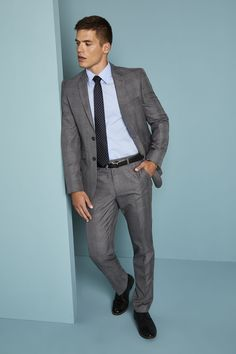 2ed096080a99 Simon Jersey Alderley Slim Fit Jacket and Trousers - Grey Check Staff  Uniforms, Work Uniforms
