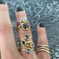 """Stack Magic! I love these beautiful golden gem-tastic stack rings by Annette Ferdinandsen!!"" Photo taken by @jewelry_maven on Instagram"