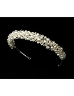 CLEAR CRYSTAL CREAM PEARL CLUSTER HAIRBAND - BRIDAL WEDDING HAIR ACCESSORIES - Wedding Hairbands - Wedding Hair bands - Wedding Hair Accessories - Wedding Accessories