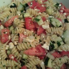 Greek Pasta Salad. I absolutely LOVE Feta. Try the garden veggie Rotini noodles with this. :)