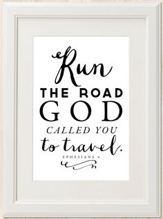 Run the Road // Christian Scripture Art Print // by mercyINK, $8.50