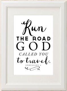 Run the Road // Christian Scripture Art Print // by mercyINK, $8.50