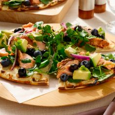 Grilled Salmon Flatbreads with Fresh Blueberry Salsa