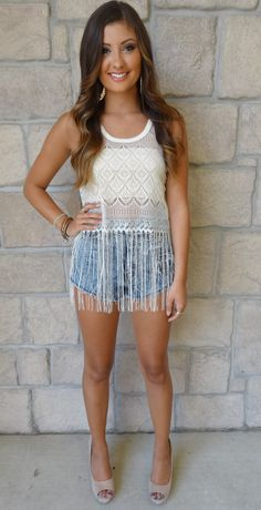Boho fringe top paired with high waisted shorts = perfection  Get it in Peoria & Normal!
