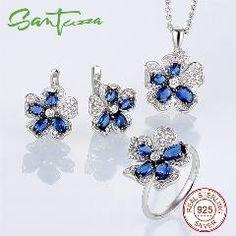 [ 31% OFF ] Silver Flower Jewelry Set Bridal Wedding Jewelry Set Blue Cz Diamond Ring Earrings Pendant Set 925 Sterling Silver Jewelry Set