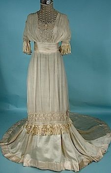 "1910/1911 Ecru ""Artificial Silk"" Fringe, Beaded, and Lace Trained Wedding Gown via AntiqueDress.com/."