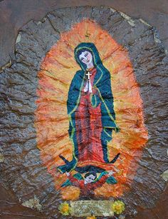 Virgin of Guadalupe (painted on a tobacco leaf