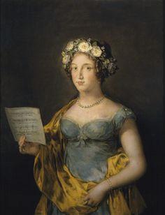 1816 La duquesa de Abrantès by Francisco de Goya y Lucientes (Museo Nacional del Prado - Madrid Spain): The Duchess of Abrantes' dress has a sweetheart neckline and minimum sleeves, but is otherwise a typical Empire-era dress.