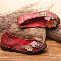 SOCOFY Flower Genuine Leather Soft Flat Lazy Loafers
