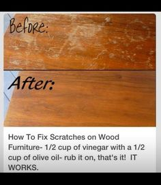 49 Super Crazy Everyday Life hacks You Never Thought Of How to Fix Scratches on Wood Furniture; cup of Vinegar with a cup of Olive oil-rub it on that's it! The post 49 Super Crazy Everyday Life hacks You Never Thought Of appeared first on Wood Diy. Household Cleaning Tips, Cleaning Recipes, House Cleaning Tips, Spring Cleaning, Cleaning Hacks, Diy Hacks, Cleaning Solutions, Oven Cleaning, Cleaning Checklist