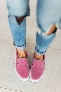 Pink velvet slip ons ❤️ #fallfashion #womenssneakers #ad