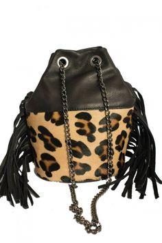 Petit sac Nairobi léopard cuir franges