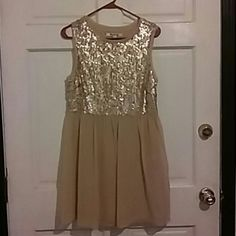 Flowy chiffon girly dress Flowy chiffon sleeveless dress with sequence top chiffon bottom with side zipper No tags on it but has not been worn. Forever 21 Dresses Midi
