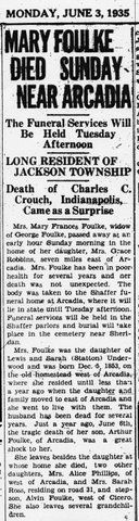 Transcription: Obituary for Mary Foulke (née Underwood)  Following is my transcription of the obituary for Mary Foulke (nee Underhill), published Monday, June 3, 1935 on page 2 of the Noblesville Daily Ledger. MONDAY, JUNE 3, 1935 MARY FOULKE DIED SUNDAY NEAR ARCADIA... http://www.emptynestancestry.com/transcription-obituary-mary-foulke-nee-underwood/