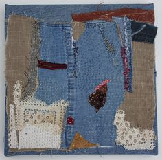 Helen Geglio, Mending Fragment Cotton, linen, hand embroidered and stitched. Diy Embroidery, Embroidery Patterns, Fabric Artwork, Textile Tapestry, Creative Textiles, Contemporary Quilts, Clothing And Textile, Fabric Manipulation, Textile Artists
