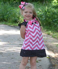 Hot Pink & Black Chevron Dress - Infant