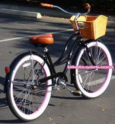 Micargi Tahiti Pacific beach cruiser bike  for women black with pink rims
