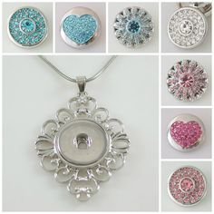 Chunk Charm Assorted Rhinestone 7 Pack Plus Filigree pendant fit Noosa /Ginger snaps