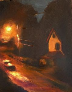 Nightlight, original nocturne framed oil painting by Jennifer Jaye Fox.