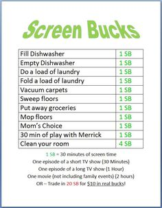 Screen Bucks... kids earn screen time by doing chores!