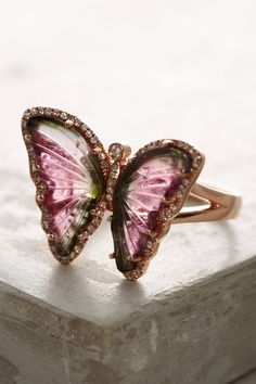 One-Of-A-Kind Butterfly Tourmaline Ring Cute Jewelry, Jewelry Art, Jewelry Rings, Jewelry Accessories, Jewelry Design, Pandora Jewelry, Pandora Charms, Butterfly Ring, Butterfly Jewelry