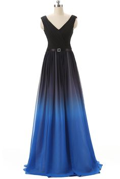 V Neckline Black And Blue Prom Dress Unique Bridesmaid Dresses Evening Party Gown Pst9006 on Luulla