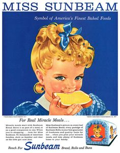 ads miss sunbeam bread vintage ad look reproduction metal sign 8 x 12 made USA Old Advertisements, Retro Advertising, Retro Ads, 1950s Ads, 1960s, Pub Vintage, Funny Vintage Ads, Vintage Food, Old Ads